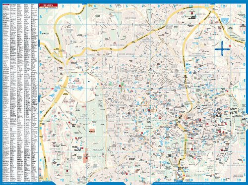 Laminated Jersusalem City Street Map by Borch (English Edition) 1