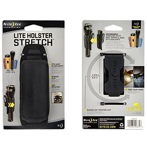 Nite Ize Clip-On Flashlight Holster with Stretch Capability and 8-Position Rotating Clip - Durable Nylon Flashlight Holster for Belt Attachment with Full 360 Degree Rotation 2