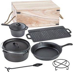 TecTake® Conjunto batería de cocina para camping de hierro fundido 7 piezas 4