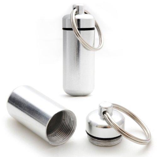 Ganzoo - Minicápsulas impermeables de almacenamiento para objetos pequeños, llavero con cierre de rosca y junta de goma, fabricadas en aluminio, 45 mm, 6 unidades, color negro, plata, rojo, azul, amarillo y verde 2