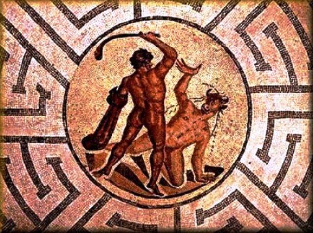 5.Detalle-de-mosaico-que-muestra-la-batalla-entre-Teseo-y-el-Minotauro