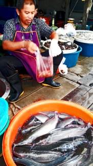 Pescado vivo mercado vía del tren Mae Klong Tailandia