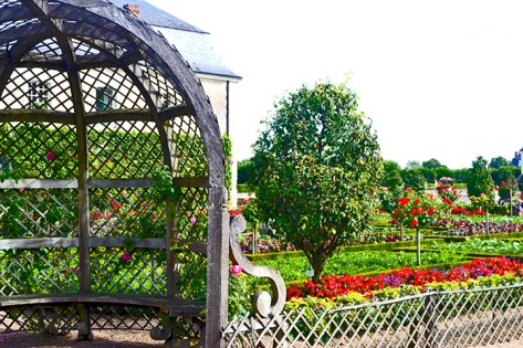 Balaustradas y decoración flores colores Jardines Villandry
