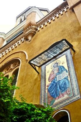 Pintura fresco pared Iglesia ortodoxa Brasov Transilvania Rumanía