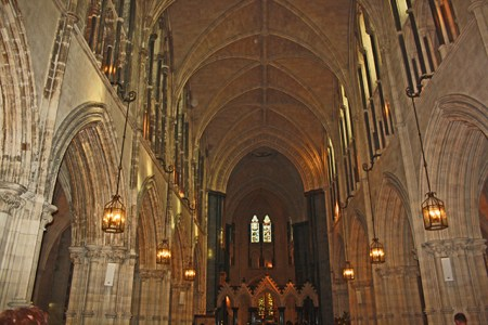 Capitals and proud of the twelfth century vaulted crypt in Christ Church Cathedral