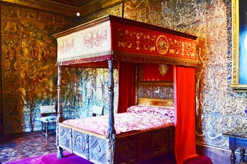 Cama dormitorio real Lorena Luisa decoración barroca castillo Chenonceau Francia