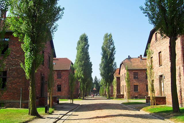 Caminos bloques ladrillo Auschwitz Birkenau Polonia