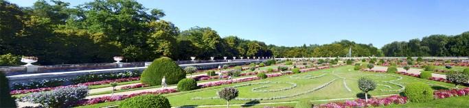 Panorámica jardines flores colores Castillo Chenonceau