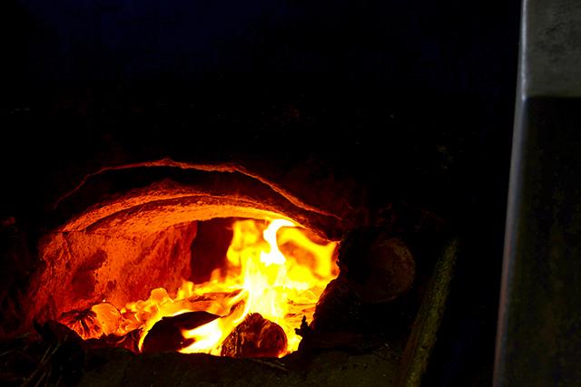 Horno fuego llama pasta de coco Tailandia