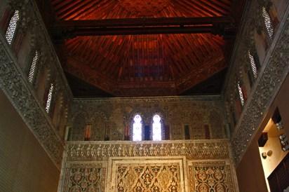 Techo celosías decoración simetrías Sinagoga Tránsito-Museo Sefardí Toledo
