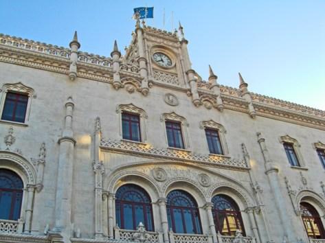 Fachada Estación tren Rossio arte manuelino centro Lisboa