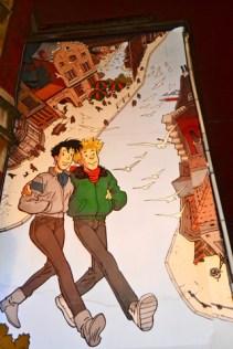 Cómic Gaston Lagaffe amigos fachada Bruselas