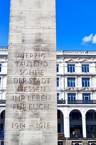 Columna letras homenaje primera Guerra Mundial Hamburgo