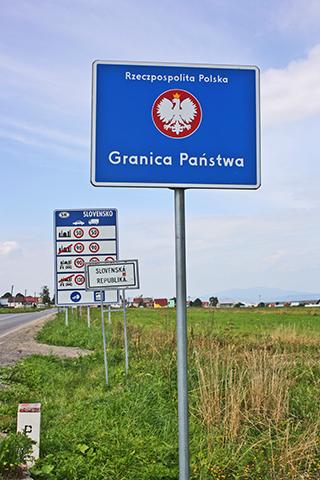 Señal azul frontera Eslovaquia Polonia
