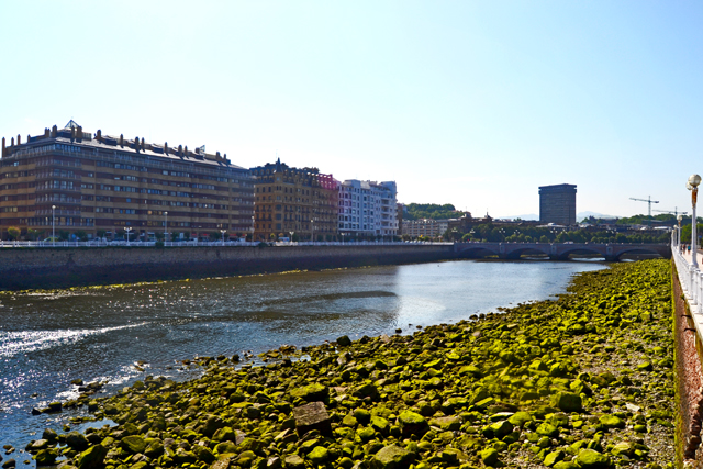 Piedras musgo orilla río Urmea fachadas litoral edificios San Sebastián Donostia