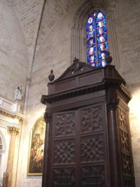 Puerta teca roble baptisterio interior Catedral València