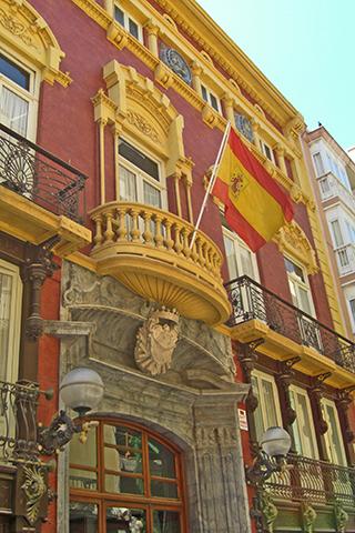Puerta bandera España fachada siglo XVIII Casino Cartagena