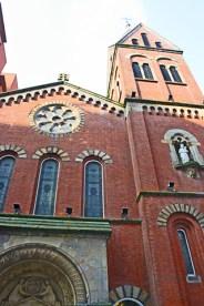 Fachada roja iglesia Santa María Manchester Inglaterra