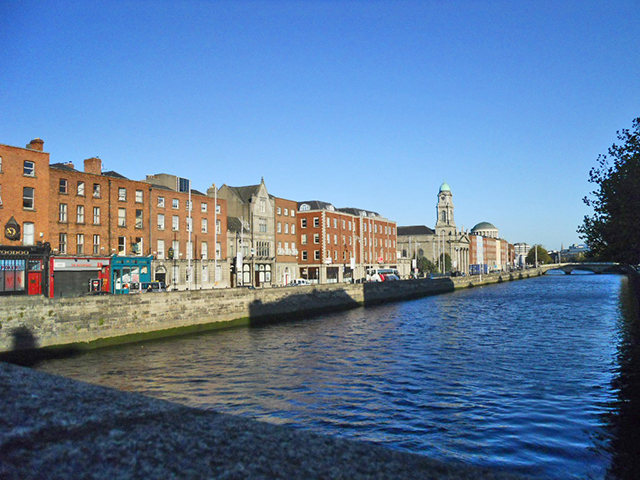 Taking air beside the river Liffey