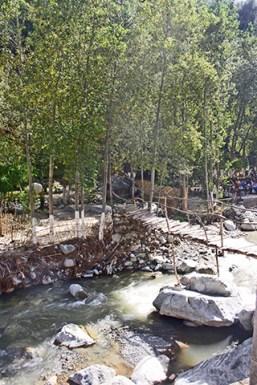 Puente madera río Valle Ourika Marruecos
