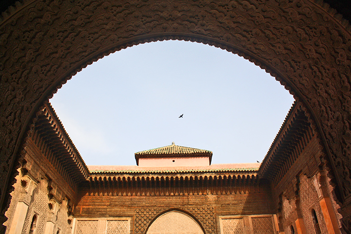 Vistas cielo ave patio central Madraza de Ben Youssef Marrakech