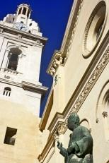 Seu fachada escultura monumento nacional Xàtiva Valencia