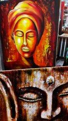 Cuadros pintura africana color puesto callejero paseo Ao Nang Krabi