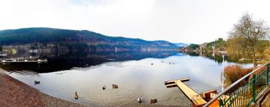Panorámica lago Titisee patos montes bosques Selva Negra Alemania