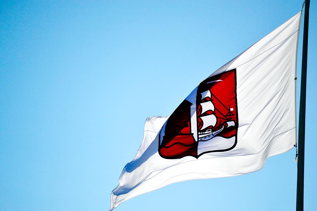 Bandera Vaxholm ondeando cielo Suecia