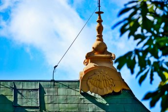 Detalle pináculo modernista Pabellón chino Palacio real Drottningholm Suecia
