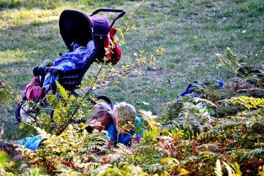 Niños rubios carrito bebé picnic césped Grinda