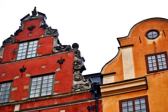 Fachadas colores plaza Stortorget Gamla Stan Estocolmo