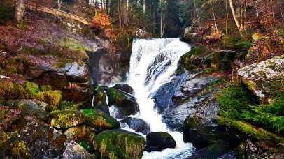 Caída agua cascada rocas musgo Triberg Selva Negra Alemania