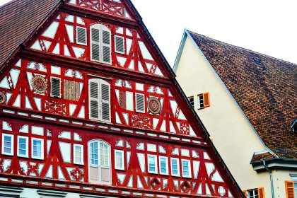 Fachada madera vivienda típica gótico medieval Esslingen Am Neckar Alemania