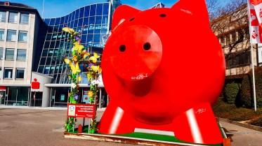 Escultura cerdo gigante rojo calles Ludwigsburg Alemania