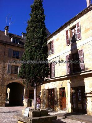 agradable rincón en la Cour des Fontaines; por el pasaje del fondo se accede al Cour du Cloître (donde hay una capilla, cerrada al público) y de éste a la catedral por una puerta lateral