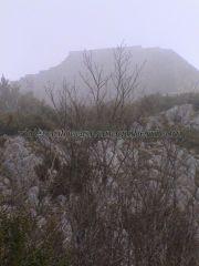 la fortaleza de Montségur en la cumbre bajo la niebla