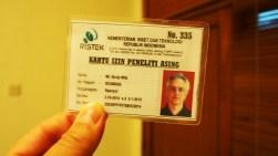 Por fin... mi permiso de investigador extranjero en Indonesia.