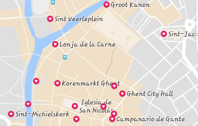 Mapa Gante (Bélgica)