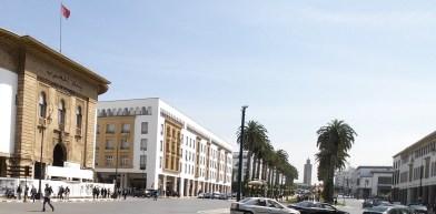 Bank Al Maghrib a la izquierda. Rabat (Marruecos)