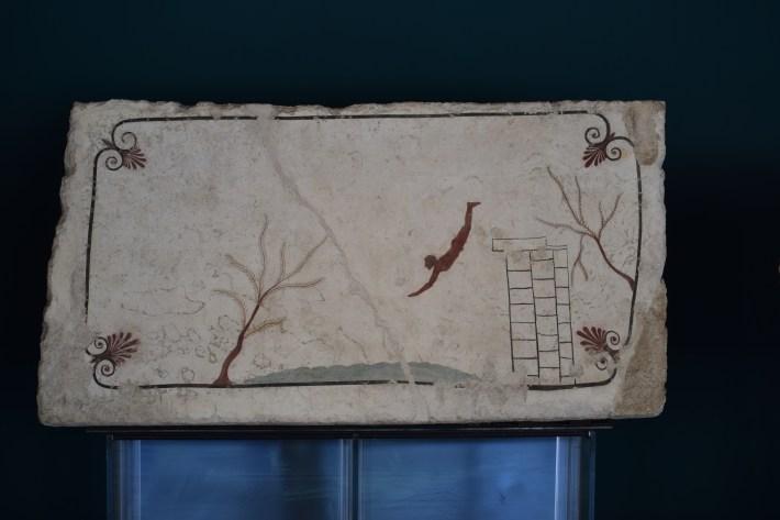 La Tumba del buceador en el Museo de Paestum, Campania (Italia)