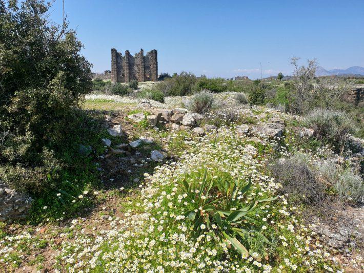 Camino hacia la Acrópolis desde el Teatro de Aspendos (Turquía)