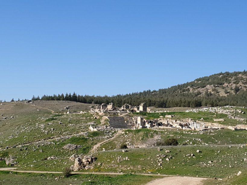 Vistas del Martyrium de san Felipe, Hierápolis, Pamukkale (Turquía)