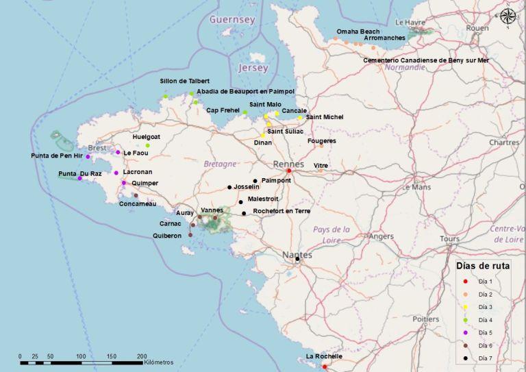 Mapa de Bretaña