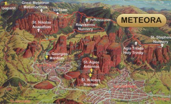 Mapa Ruta monasterios de Meteora