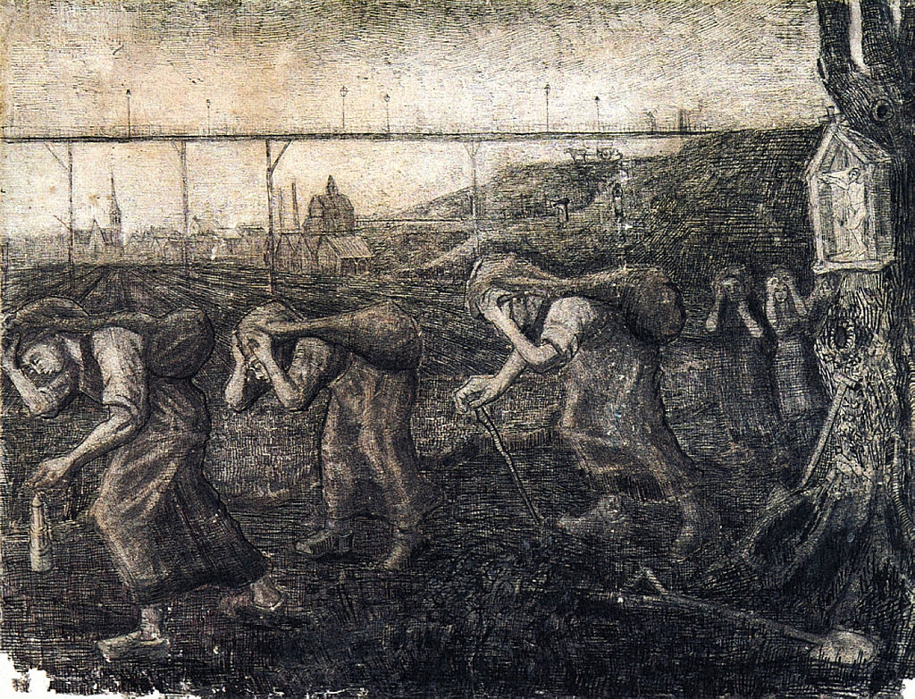 """<a title=""""Vincent van Gogh  [Public domain]"""" href=""""https://commons.wikimedia.org/wiki/File:Miners-women-carrying-sacks-the-bearers-of-the-burden-1881-_Brussels.jpg"""" data-recalc-dims="""