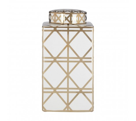 Gold and white square patterned ceramic jar (small)
