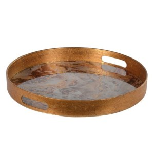 Gold round marble effect tray
