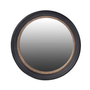 Black convex mirror with gold trim