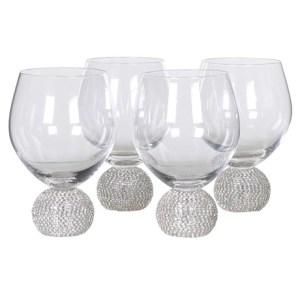 Silver diamanté ball crystal no stem wine glasses (set of 4)